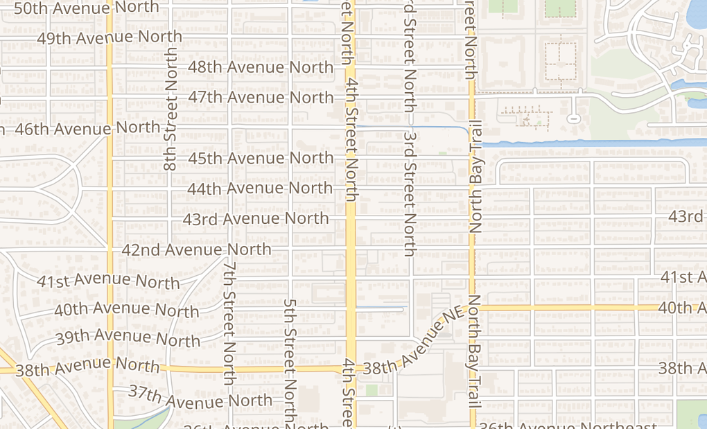 map of 4301 - 4309 4Th St NSt. Petersburg, FL 33703