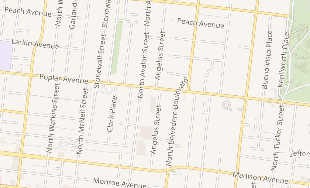 map of 1625 Poplar AveMemphis, TN 38104