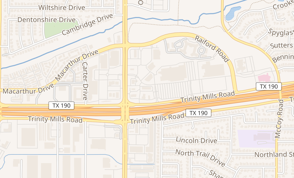 map of 1017 E Trinity Mills Rd Ste 100Carrollton, TX 75006