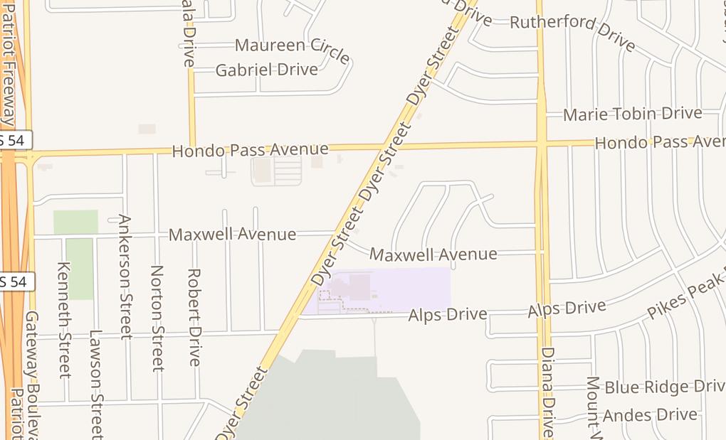 map of 9008 Dyer St Ste GEl Paso, TX 79904