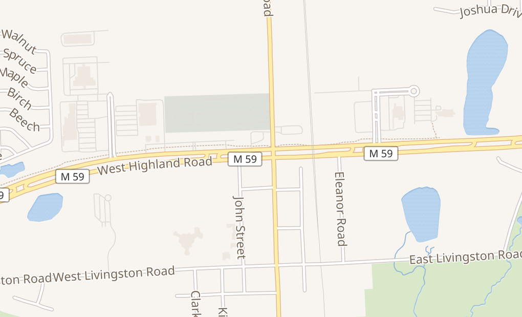 map of 135 W Highland RdHighland, MI 48357