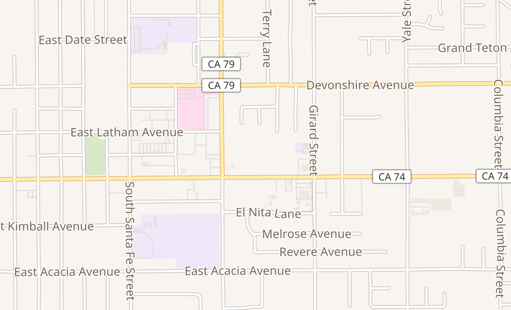 map of 1458 E Florida AveHemet, CA 92544