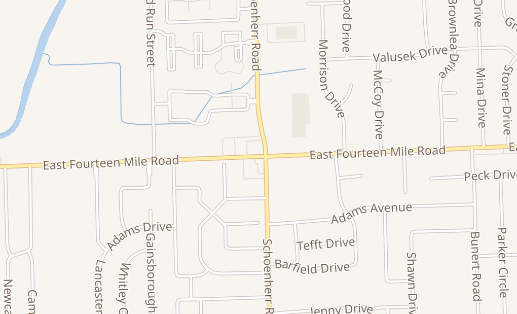 map of 13582 E 14 Mile RdWarren, MI 48088