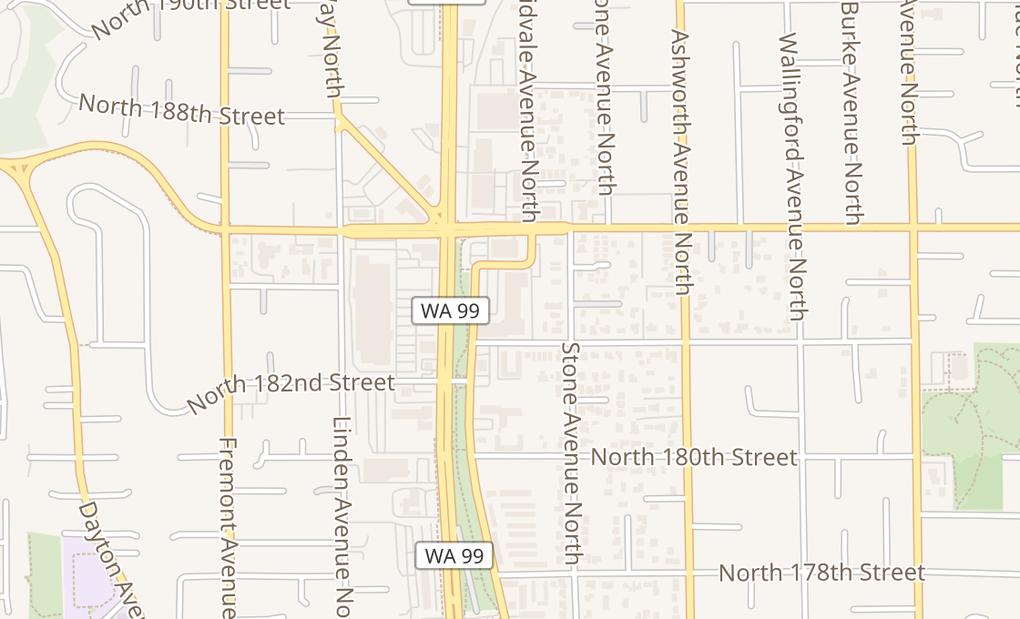 map of 18336 Aurora Ave N Ste 101AShoreline, WA 98133