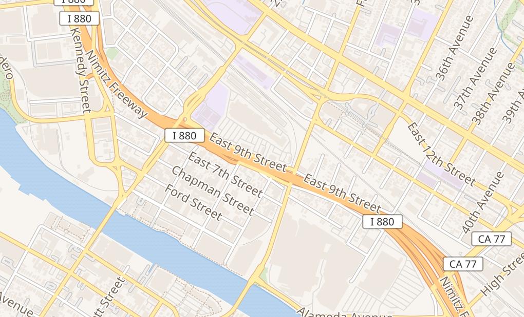 map of 3040 E 9Th St Ste AOakland, CA 94601