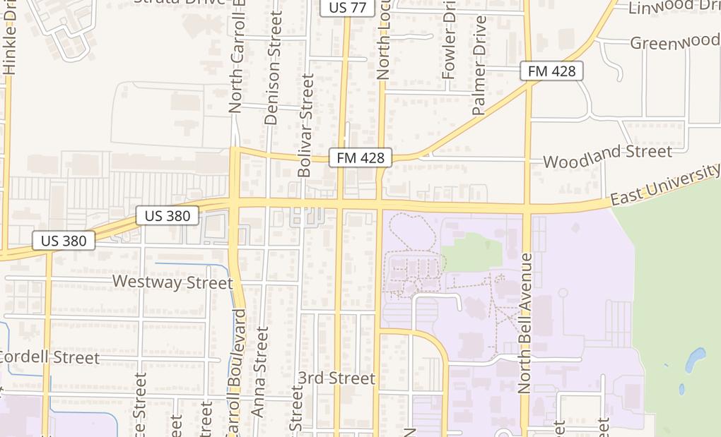map of 101 W University DrDenton, TX 76201