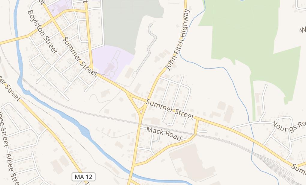 map of 30 John Fitch HwyFitchburg, MA 01420