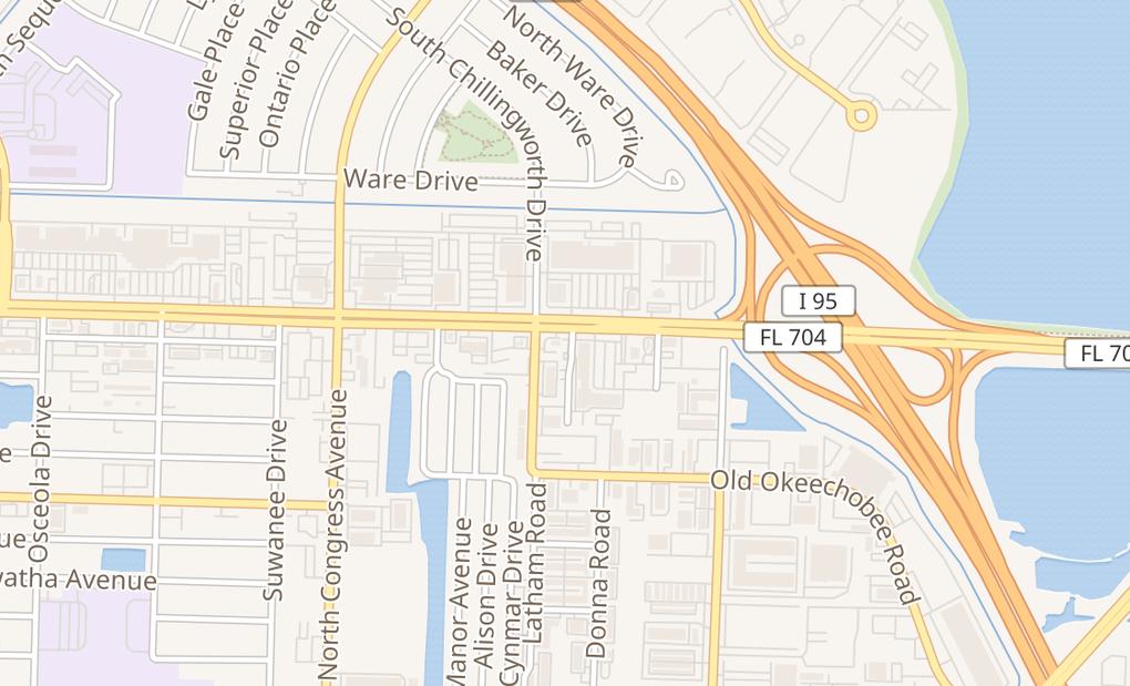 map of 1950 Okeechobee BlvdWest Palm Beach, FL 33409