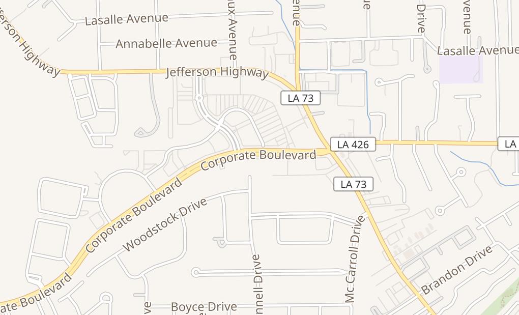 map of 7474 Corporate Blvd Ste 107Baton Rouge, LA 70809