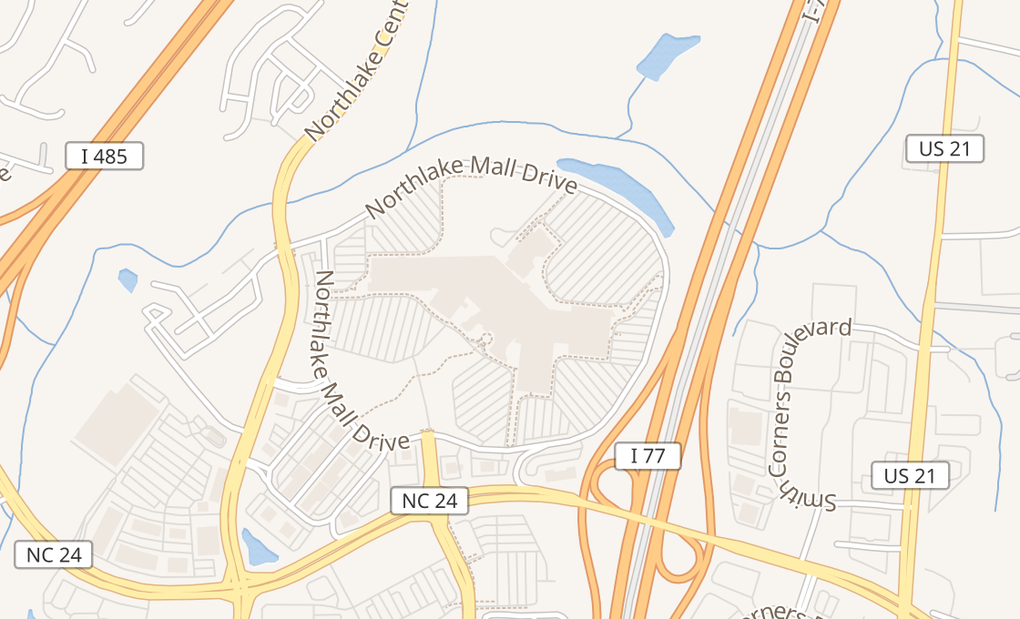 map of 6801 Northlake Mall Dr Ste K03Charlotte, NC 28216