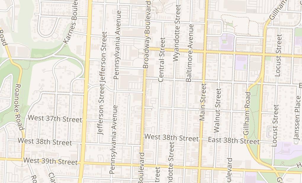 map of 3625 Broadway BlvdKansas City, MO 64111