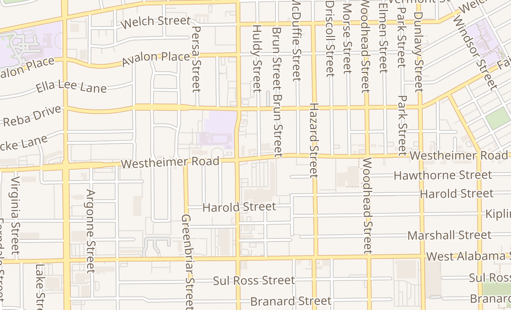 map of 2036 Westheimer Rd Ste AHouston, TX 77098