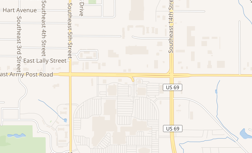 map of 1111 E Army Post Rd Ste 50Des Moines, IA 50315