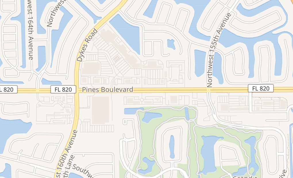 map of 15707 Pines Blvd Ste E2Pembroke, FL 33027