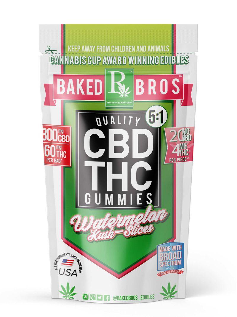 Watermelon Kush Slices 5:1 | 300mg/60mg CBD/THC [I/H] - BAKED BROS