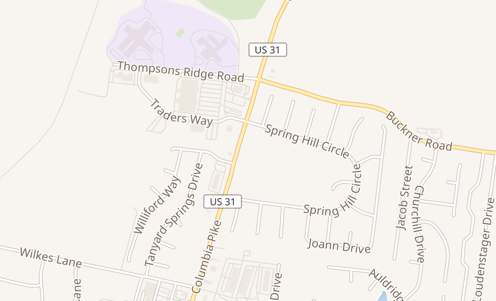 map of 4816 Main St Ste FSpring Hill, TN 37174