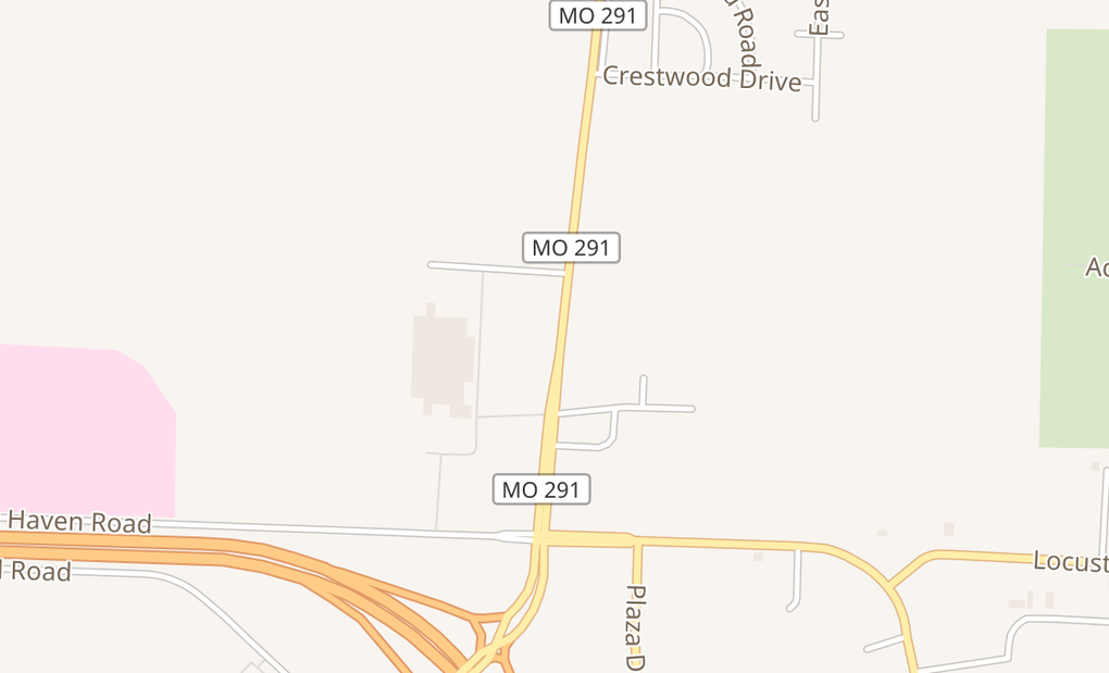 map of 1812 N State Route 291Harrisonville, MO 64701
