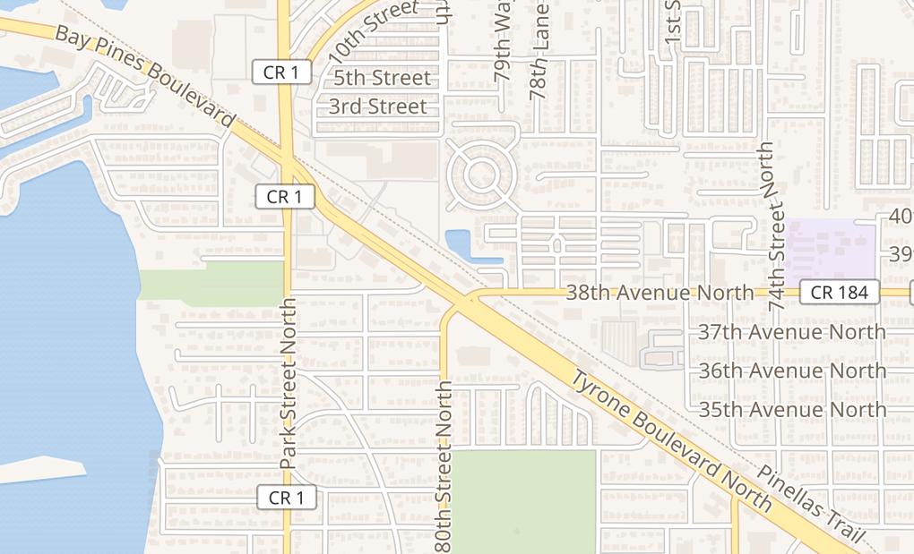 map of 3811 Tyrone Blvd NSt Petersburg, FL 33709