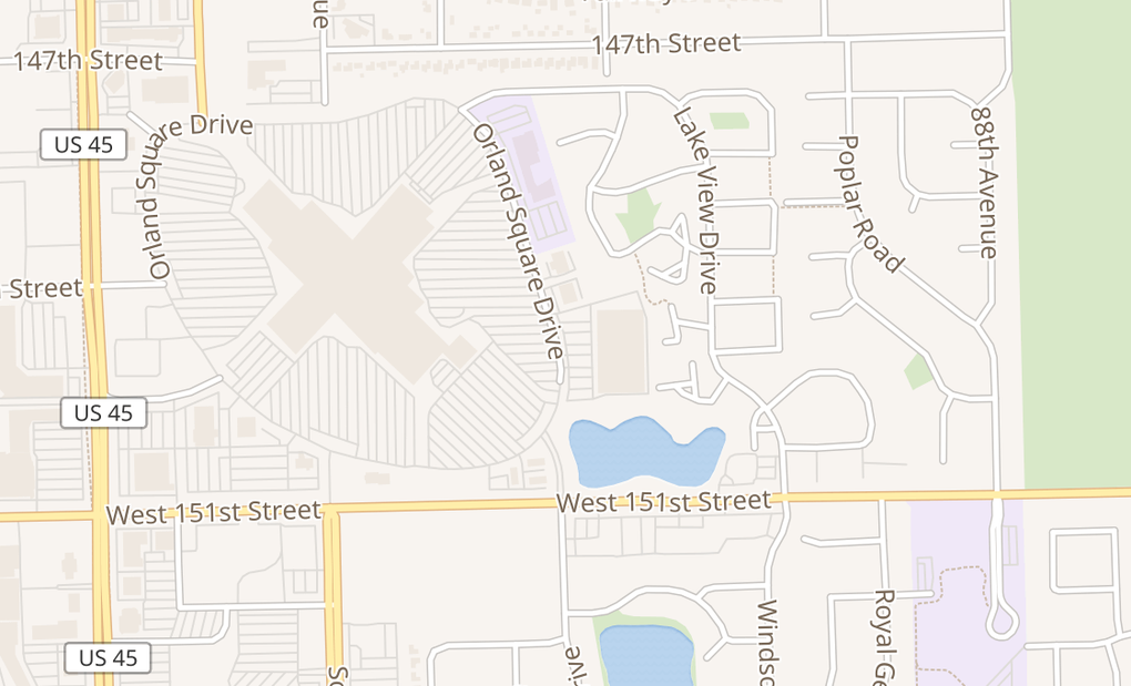 map of 288 Orland Square Dr Ste K124Orland Park, IL 60462