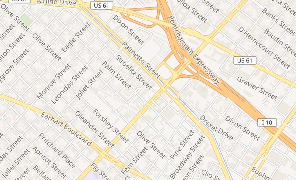 map of 3600 S Carrollton Space JNew Orleans, LA 70118