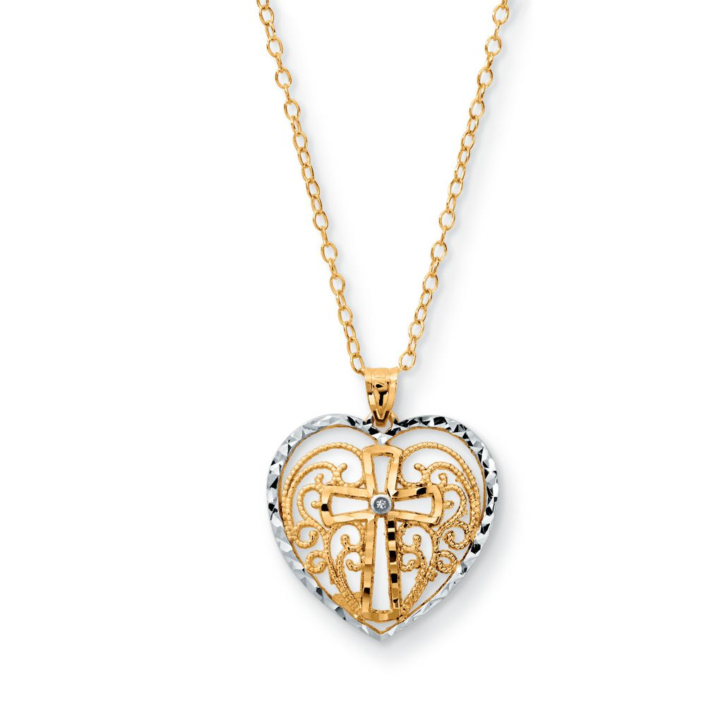 Sears 10k two tone diamond accent heart filigree cross pendant 10k two tone diamond accent heart filigree cross pendant sears 43086 in stock aloadofball Image collections