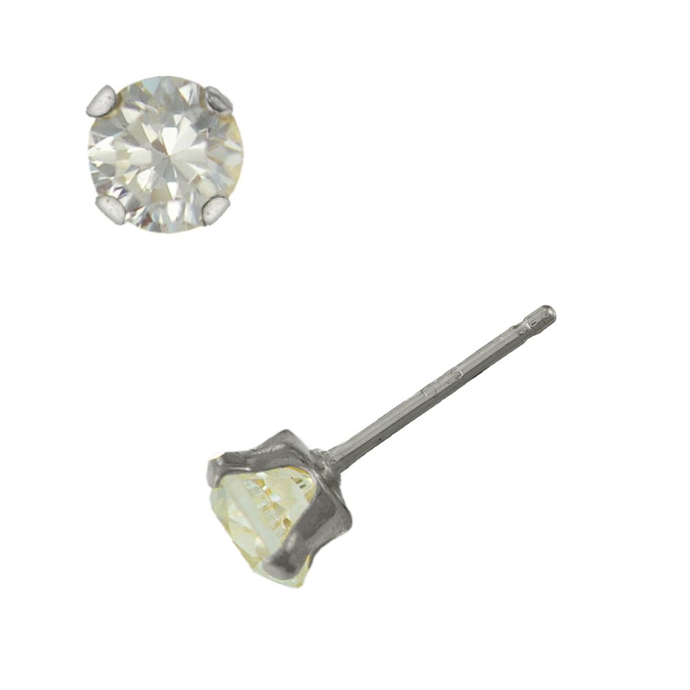 2d8775f6d 10K White Gold 6.5mm Round Cubic Zirconia Earrings - Sears - XWE65MMZG | In  Stock