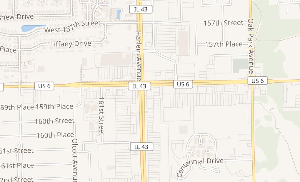 map of 15901 Harlem AveTinley Park, IL 60477