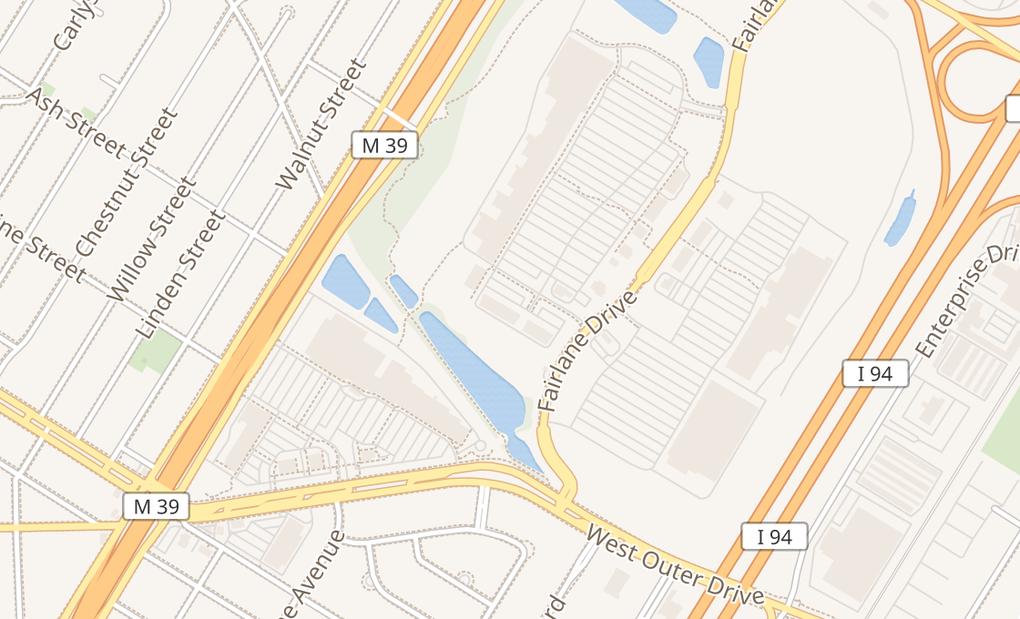 map of 3428 Fairlane DrAllen Park, MI 48101