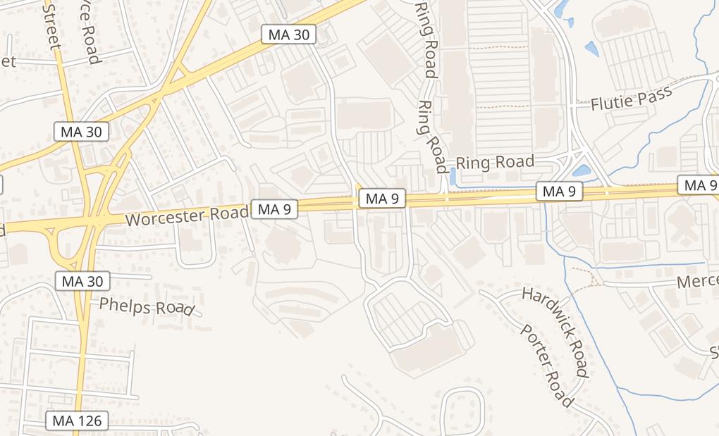 map of 142 Worcester RdFramingham, MA 01702