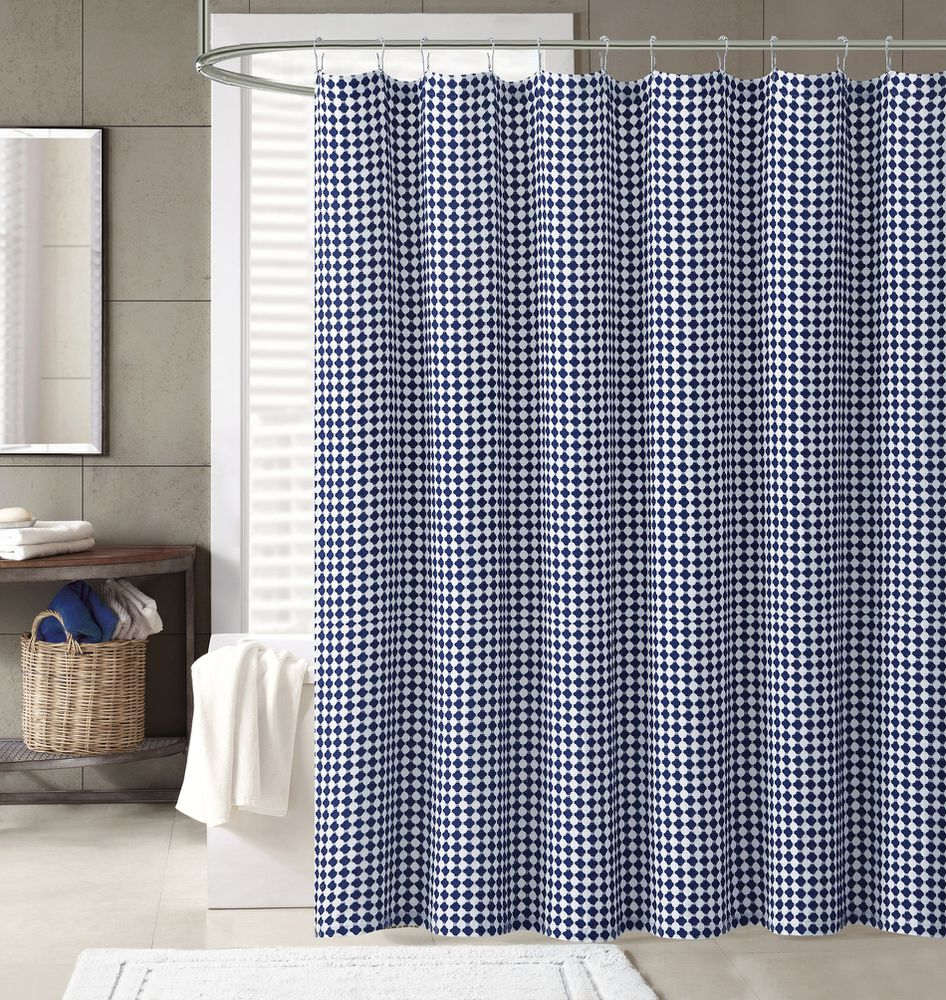 Cannon Prina Henley Shower Curtain White Navy