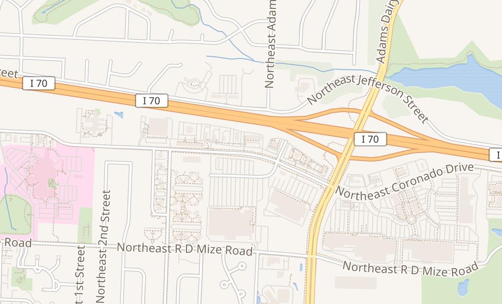 map of 633 NE Coronado DrBlue Springs, MO 64014