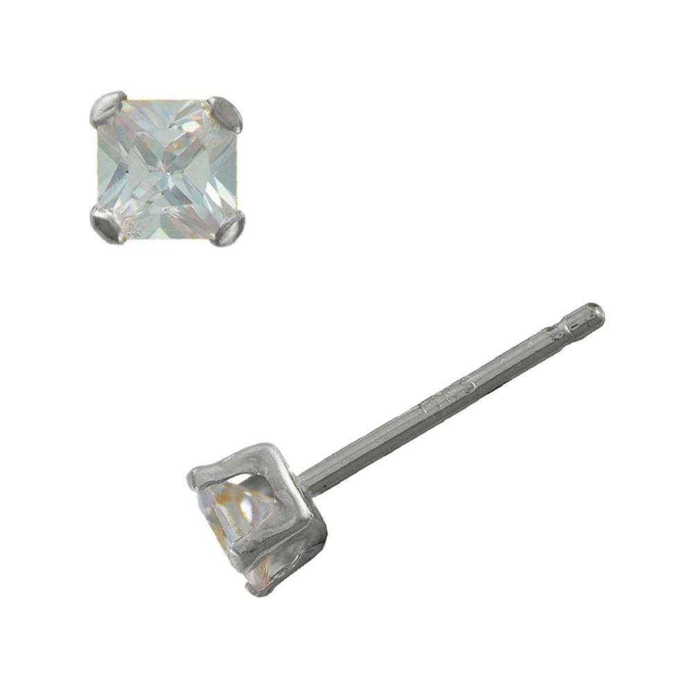5ae0202a9 10K White Gold 5mm Princess Cut Cubic Zirconia Earrings - Sears - XW94976GF  | In Stock