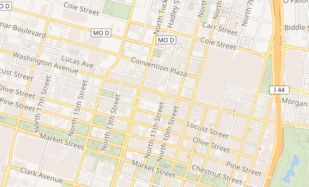 map of 1136A Washington AveSt Louis, MO 63101