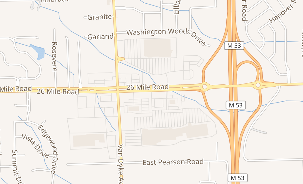 map of 8290 26 Mile RdShelby Township, MI 48316