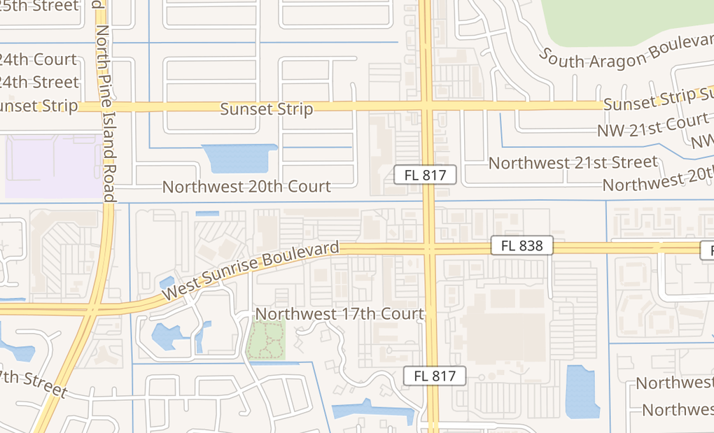 map of 8171 W Sunrise BlvdPlantation, FL 33322