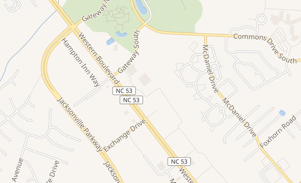 map of 1250 Western Blvd Ste N3Jacksonville, NC 28546