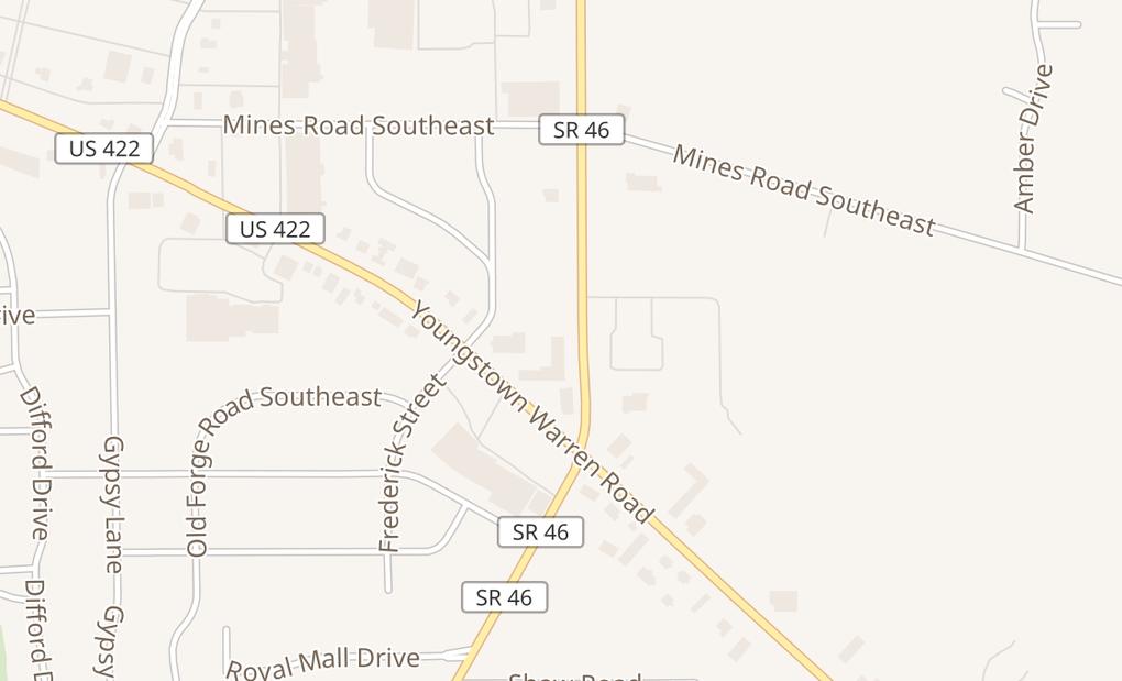 map of 2658 Niles Cortland RdWarren, OH 44484