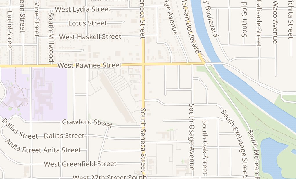 map of 2452 S Seneca St Ste 100Wichita, KS 67217