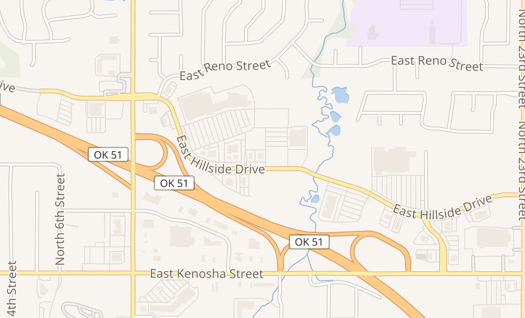 map of 1446 E Hillside DrBroken Arrow, OK 74012