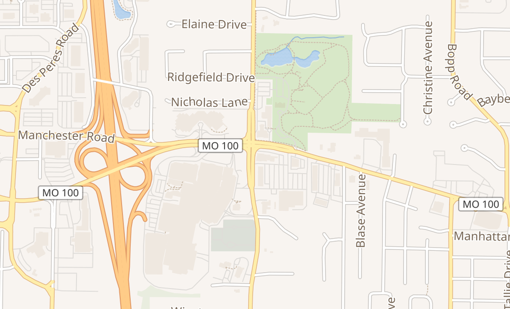 map of 1084 North Ballas RdSt. Louis, MO 63131