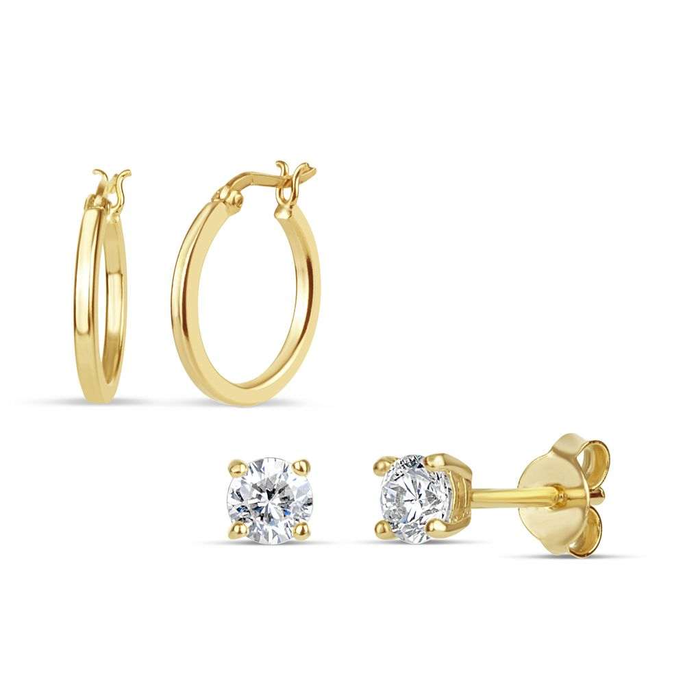 c6025c94d Gold over Sterling Silver Cubic Zirconia and Hoop 2 Pair Earring Set - Sears  - 3E1